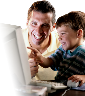 adult and kid at computer